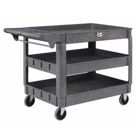 "Large Deluxe 3 Shelf Plastic Utility & Service Cart 5"" Rubber Casters"