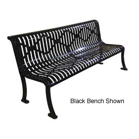 "96"" Roll Formed Diamond Bench with Back No Armrests - Black"