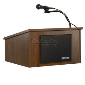 Tabletop Podium / Lectern with Cordless Sound System, Walnut Finish
