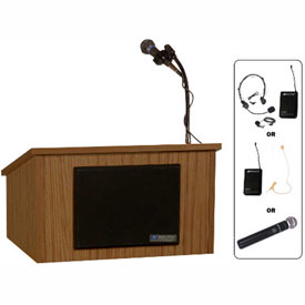 Wireless Tabletop Podium / Lectern with Cordless Sound System , Walnut