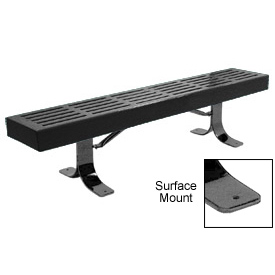 "72"" Slatted Flat Bench Surface Mount Style - Black"