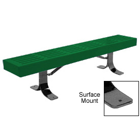 "72"" Slatted Flat Bench Surface Mount Style - Green"