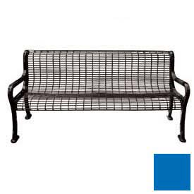 "72"" Roll Formed Wire Bench with Back and Armrests - Blue"