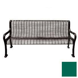 "72"" Roll Formed Wire Bench with Back and Armrests - Green"