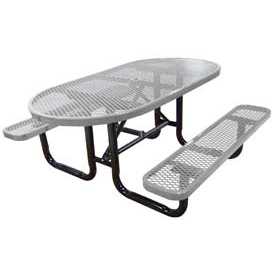 "72"" Oval Expanded Metal Surface Mount Picnic Table - Gray"