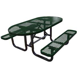 "72"" Oval Expanded Metal Surface Mount Picnic Table - Green"
