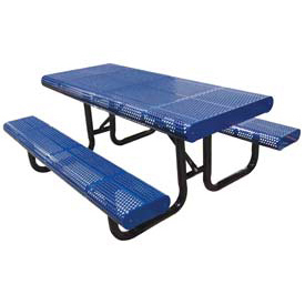 "120"" Radial Edge Surface Mount Picnic Table, Perforated Metal - Blue"