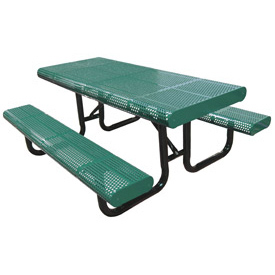"120"" Radial Edge Surface Mount Picnic Table, Perforated Metal - Green"