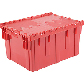 Plastic Storage Totes - Shipping Hinged Lid DC2820-15 28-1/8 x 20-3/4 x 15-5/8 Red