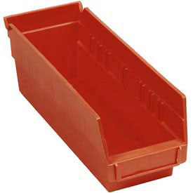 "Quantum Plastic Shelf Storage Bin - QSB201 Nestable 4-1/8""W x 11-5/8""D x 6""H Red - Pkg Qty 36"