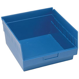 "Quantum Plastic Shelf Storage Bin - QSB209 Nestable 11-1/8""W x 11-5/8""D x 6""H Blue - Pkg Qty 8"