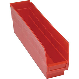 "Quantum Plastic Shelf Storage Bin - QSB203 Nestable 4-1/8""W x 17-7/8""D x 6""H Red - Pkg Qty 20"