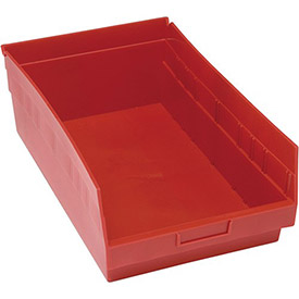 "Quantum Plastic Shelf Storage Bin - QSB210 Nestable 11-1/8""W x 17-7/8""D x 6""H Red - Pkg Qty 8"