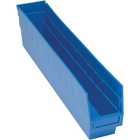 "Quantum Plastic Shelf Storage Bin - QSB205 Nestable 4-1/8""W x 23-5/8""D x 6""H Blue - Pkg Qty 16"