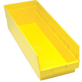 "Quantum Plastic Shelf Bin - QSB214 8-3/8""W x 23-5/8""D x 6""H Yellow"