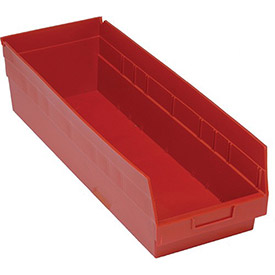 "Quantum Plastic Shelf Storage Bin - QSB214 Nestable 8-3/8""W x 23-5/8""D x 6""H Red"