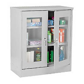 Sandusky Clear View Counter Height Storage Cabinet EA2V462442 - 46x24x42, Light Gray