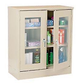 Sandusky Clear View Counter Height Storage Cabinet EA2V462442 - 46x24x42, Putty