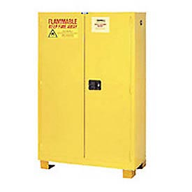 "Global&#8482 Flammable Cabinet With Legs - Manual Close Double Door 90 Gallon - 43""W x 34""D x 69""H"