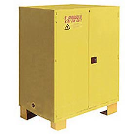 "Global&#8482 Flammable Cabinet With Legs - Manual Close Double Door 120 Gal - 59""W x 34""D x 69""H"