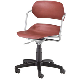 OFM Swivel Task Chair - Plastic - Mid Back - Burgundy Seat with Silver Frame
