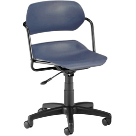 OFM Swivel Task Chair - Plastic - Mid Back - Blue Seat with Black Frame