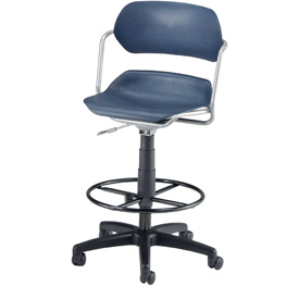 OFM Martisa Series Swivel Task Chair with Drafting Kit, Plastic, Mid Back, Navy with Silver Frame