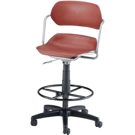 OFM Swivel Stool - Plastic - Burgundy with Silver Frame