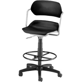 OFM Swivel Stool - Plastic - Black with Silver Frame