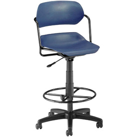 OFM Martisa Series Swivel Task Chair with Drafting Kit, Plastic, Mid Back, Navy with Black Frame