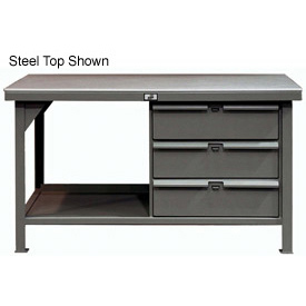"Strong Hold 60""W x 36""D 3 Drawer with  Maple Top Workbench"