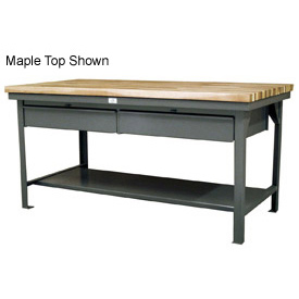 """Strong Hold 72""""W x 36""""D  x 34""""H 2 Drawer with Maple Top Workbench"""