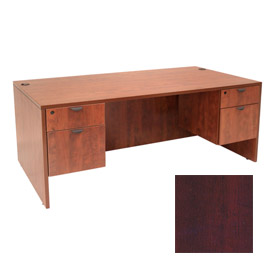 Regency 72 Inch Desk with Hanging Peds in Mahogany - Manager Series