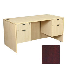66 Inch Desk with 36 Inch Right Return in Mahogany - Manager Series