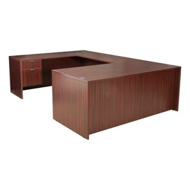 72 Inch U Shape Workstation in Mahogany - Manager Series