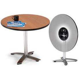 "OFM 42"" Lunchroom Table - Round - Flip Top - Gray"
