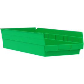 "Akro-Mils Plastic Shelf Bin Nestable 30158 - 8-3/8""W x 17-7/8""D x 4""H Green - Pkg Qty 12"