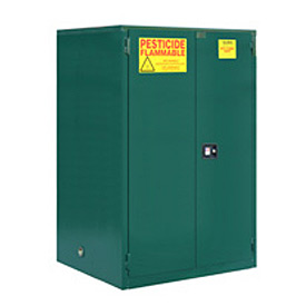 "Global&#8482 Pesticide Storage Cabinet - Self Close Double Door 60 Gallon- 34""W x 34""D x 65""H"