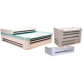 "Molded Fiberglass Stackable Conveyor/Assembly Tray 630101 -24-1/4""L x 24-1/4""W x 2-1/4""H, White"