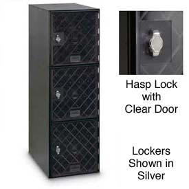Modular Box Locker 11-1/2 X 18 X 38 Three Clear Door With Hasp Lock