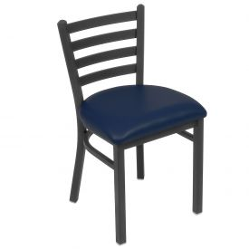 Vinyl Uphostered Restaurant Chair With Ladder Back - Blue - Pkg Qty 2