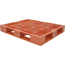 Stackable Plastic Pallet 39-1/2x47-3/8x6, 6600 lb Floor & 2200 lb Fork Cap.,Orange