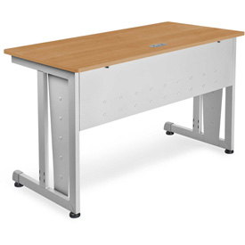 "OFM Training Table 48"" X 24"" Maple & Silver"