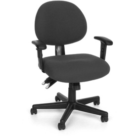 Low Back Chair Pneumatic Height Adjustment With Armrests - Charcoal