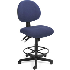 24 Hour Task Chair with Drafting Kit (Footstool) - Blue