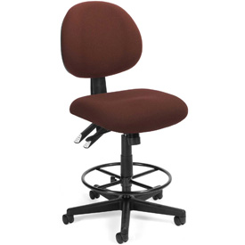 24 Hour Task Chair with Drafting Kit (Footstool) - Burgundy