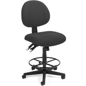 24 Hour Task Chair with Drafting Kit (Footstool) - Charcoal