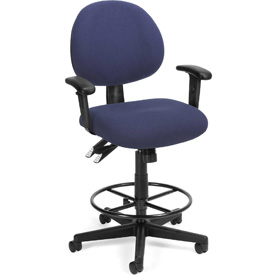 24 Hour Task Chair with  Arms and Drafting Kit (Footstool) - Blue