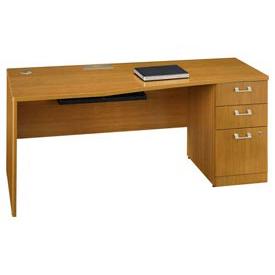"Bush Quantum™ 72"" Right Hand Desk with Pedestal - Modern Cherry"