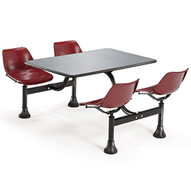 24 x 48 Cluster Seating Table with 4 Seats - Burgundy